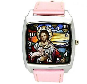 品質が 【送料無料】腕時計 christ イエスキリストスチールピンクムービームービーjesus film leather christ church holy bible steel pink leather film movie dvd square watch, FALCON BIKE:222111a2 --- claudiocuoco.com.br