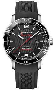 【送料無料】腕時計 ウェンガースイスメンズブラックシリコンストラップロードスターブラックウォッチ