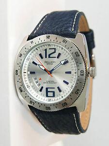 【送料無料】腕時計 ベラージオベルテンポ#ステンレススチールネイビーレザーウォッチアンプbellagio bel tempo men039;s stainless steel navy leather watch 120123 amp; unworn