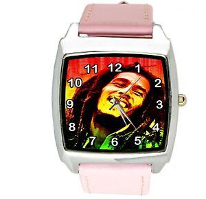 【送料無料】腕時計 ジャマイカレゲエボブマーリースクエアピンクウォッチbob marley jamaica reggae rasta soul leather music legend square pink watch e2