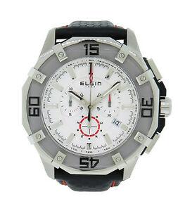 【送料無料】腕時計 #アナログクロノグラフステンレススチールレザーウォッチelgin 1863 121091 men039;s white analog chronograph stainless steel leather watch