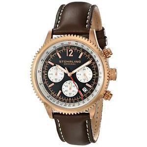 【送料無料】腕時計 モナコクロノグラフメンズブラウンカーフスキンウォッチstuhrling monaco mens 42mm chronograph brown calfskin krysterna watch 66904