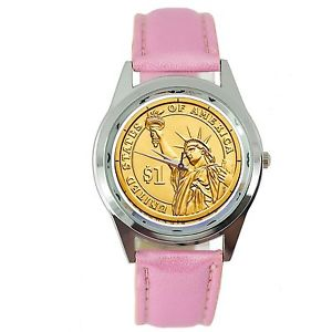 【送料無料】腕時計 アメリカリバティードルスチールラウンドポイズンピンクusa gold state of liberty dollar coin legend steel pink leather round gift watch