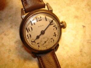 【送料無料】腕時計 アンティークメンズエルギン~antique 1920 mens elgin military trench wristwatch in running condition~