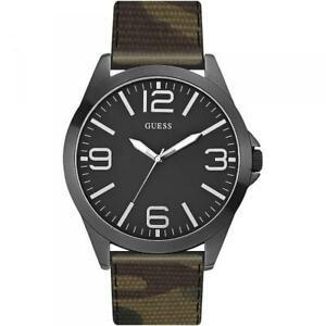 【送料無料】腕時計 カムフラージュorologio uomo guess w0181g5 camouflage militare pelle oversize nero dd