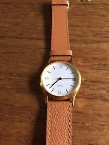 【送料無料】腕時計 ブラウンレザーストラップラウンドウォッチladies round watch with brown leather strap w2796