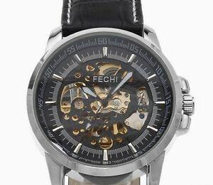 【送料無料】腕時計 スケルトンブラックレザーストラップウォッチ