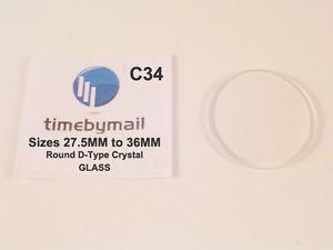 【送料無料】腕時計 watch glass replacement crystal 275mm to 36mm d type flat base domed top c34