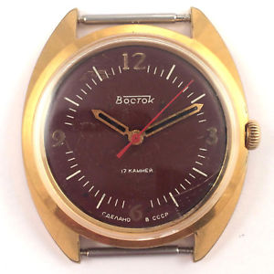 【送料無料】腕時計 ソヴォストークソvgc soviet vostok windup watch gold plated ussr 80s, 2409a *us seller* 1073