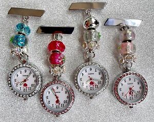 【送料無料】腕時計 ビーズケアfob watch with pretty beads for nurses care workers, beauticians, vets