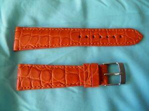 【送料無料】腕時計 ブレスレットクロコダイルオレンジメイントップ22 16 mm bracelet crocodile veritable orange fait main top qualit luxe