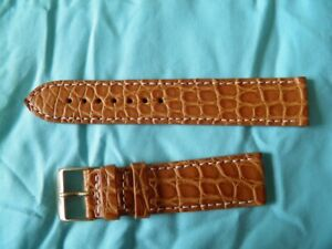 【送料無料】腕時計 ブレスレットクロコダイルマロン20 mm bracelet crocodile vritable marron 034;miel034; couture blanche top qualit