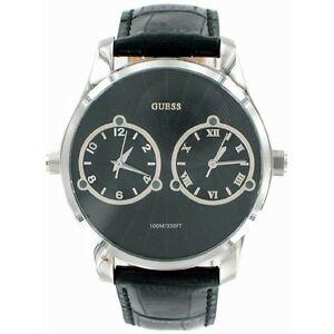 【送料無料】腕時計 デュースデュアルタイムゾーンブラックレザーストラップウォッチ