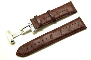 【送料無料】腕時計 ブラウンクロコダイルウォッチストラップシルバートーンバタフライクラスプエンボス24mm brown croco embossed leather watch strap silver tone butterfly clasp