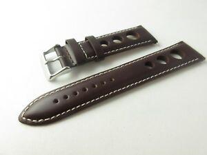 【送料無料】腕時計 グランプリラリーパッドスムーズウォッチストラップホワイトステッチgrand prix rally padded smooth brown leather 22mm watch strap white stitching
