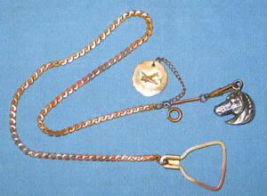 【送料無料】腕時計 アンティークメッキチェーンスターリングウォッチヘッドキャピトルantique gold plated copper watch chain fob sterling horse head amp; capitol dc