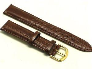 【送料無料】腕時計 ブラウンゴールドエンボスレザーストラップウォッチ21mm browngold croco embossed leather water resistant watch strap us shipping
