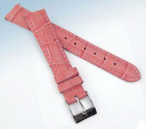 【送料無料】腕時計 ストラップピンクワニ16mm genuine leather watch strap pink croco crocodile grain