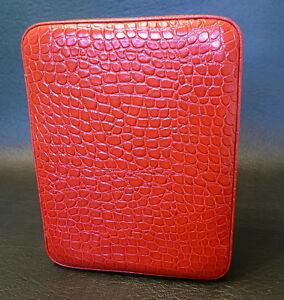 【送料無料】腕時計 リアルレザーウォッチケースワニパターンfour watch real leather travel storage case high gloss red croc pattern