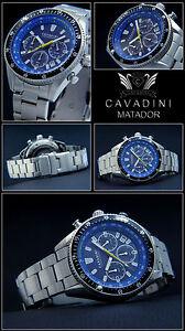 【送料無料】腕時計 シリーズクロノグラフベゼルcavadini serie matador herrn chronograph azurblau drehbare lnette luxus pur