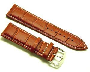 【送料無料】腕時計 ホワイトステッチウォッチストラップ24mm brown leather white stitched replacement croco watch strap  invicta lupah
