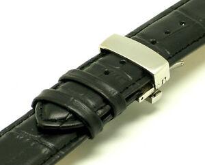 【送料無料】腕時計 クロコダイルウォッチストラップスチールプッシュボタンクラスプエンボス