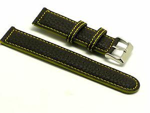 【送料無料】腕時計 ダークブラウンイエローレザーウォッチストラップフィット20mm dark brownyellow quality leather watch strap fits all watches