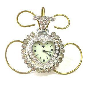 【送料無料】腕時計 ビンテージラインストーンハートペンダントポケットペンダントウォッチピンウォッチ#