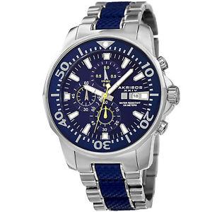 【送料無料】腕時計 #クロノグラフクォーツムーブメントスティールブレスレットウォッチmen039;s akribos xxiv ak857bu chronograph date quartz movement steel bracelet watch