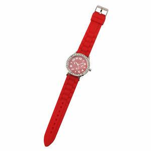 【送料無料】腕時計 シリコンファッションラインストーントリムニップウォッチwomens red silicone fashion watch with rhinestone trim nip