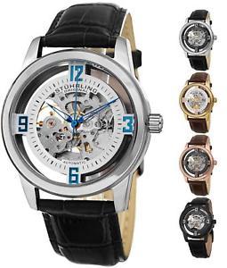 【送料無料】腕時計 スケルトンドレスレザーストラップウォッチstuhrling 877 automatic selfwind skeleton luxury dress leather strap watch