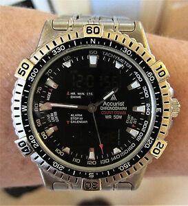【送料無料】腕時計 アナデジクォーツアラームクロノグラフブレスレットgents ss accurist ana digi quartz alarm chronograph bracelet watch t241 working