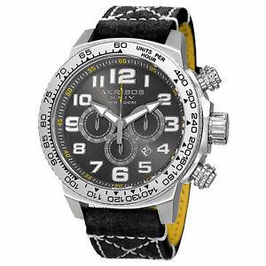 【送料無料】腕時計 クロノグラフクォーツムーブメントレザーストラップウォッチmens akribos xxiv ak842ssb chronograph date quartz movement leather strap watch