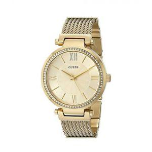 【送料無料】腕時計 ゴールドトーンステンレススチールクリスタルベゼルウォッチguess u0638l2 gold tone woven stainless steel crystal bezel watch