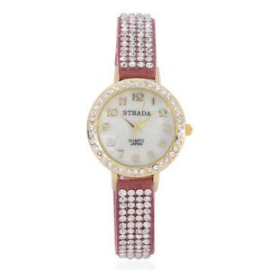 【送料無料】腕時計 オーストリアクリスタルウォッチイエローゴールドステンレススチールstrada austrian crystal watch ip yellow gold 316l stainless steel