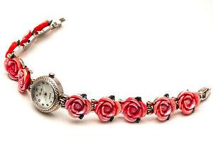 【送料無料】腕時計 アンティークシルバーラウンドケースローズリンクアナログクォーツwomens antique silver finish round case rose flowers links analog quartz watch