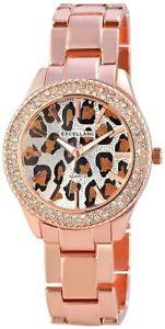 【送料無料】腕時計 レディースシルバーローズゴールドラインストーンアナログexcellanc damenuhr silber rosgold strass leopardlook analog x150832500003