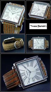 【送料無料】腕時計 ジャンボレディースイヴウォッチブラウンquadratische jumbodamenuhr yves bertelin , similisteine, 40mm, lederbd braun
