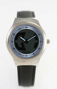 【送料無料】腕時計 メンズブラックレザーステンレススチールシルバークォーツバッテリーウォッチ
