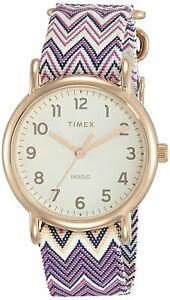 【送料無料】腕時計 ウィークエンダーゴールドトーンアナログウォッチナイロンストラップローズtimex tw2r59000 weekender womens rose goldtone analog watch nylon strap