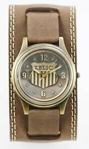 【送料無料】腕時計 メンズステンレススチールゴールドブラウンクォーツrelic watch mens stainless gold steel water resistant brown wide leather quartz