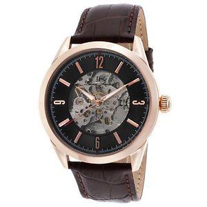 【送料無料】腕時計 #ローズゴールドケースブラウンストラップlucien piccard men039;s rose gold case brown strap automatic watch 10660arg01brw