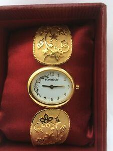 【送料無料】腕時計 フランスフラワーデザインブレスレットfontenay of france womens quartz rigid flower design bracelet watch