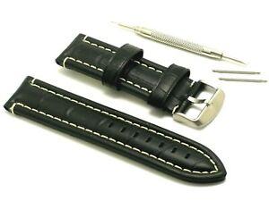 【送料無料】腕時計 ミリブラックホワイトレザーパッドウォッチストラップスプリングバーリムーバーツール