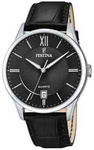 【送料無料】腕時計 メンズステンレススチールブラックレザーウォッチ