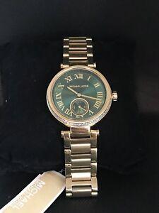 【送料無料】腕時計 ミハエルエメラルドクリスタルゴールドトーンウォッチmichael kors womens mk6065 skylar emerald crystal goldtone watch b12
