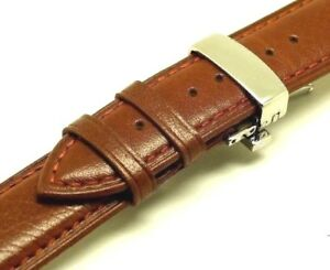 【送料無料】腕時計 ブラウンクラスプレザーウォッチストラップ18mm brown hq smooth leather watch strap with polishing deployment clasp