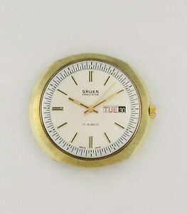 【送料無料】腕時計 ビンテージメンズカレンダーケースvintage gruen precision mens calendar day date wrist watch oval case cal 512
