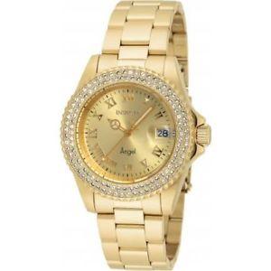 【送料無料】腕時計 エンジェルゴールドトーンスチールブレスレットケースクオーツアナログウォッチinvicta womens angel goldtone steel bracelet amp; case quartz analog watch 19513