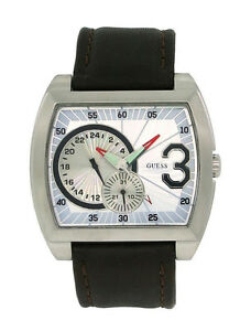 【送料無料】腕時計 スチールメンズトノーアナログブラウンレザーウォッチguess steel 85521g2 mens tonneau 12 amp; 24 hour date analog brown leather watch